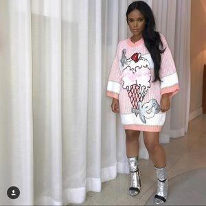 Dresses & Skirts - Pom Pom sweater top dress